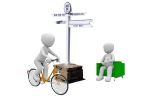 Image of Bike and seated man at Lands End Sign Post for Start Line Advice webpage