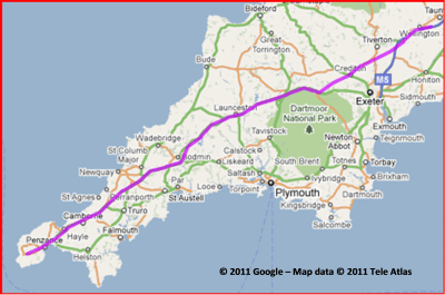 Map of Day Six for Lands End to John O'Groats - My End to End