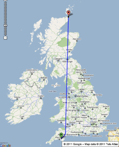 Image - Map of Day Zero for Lands End to John O'Groats - My End to End