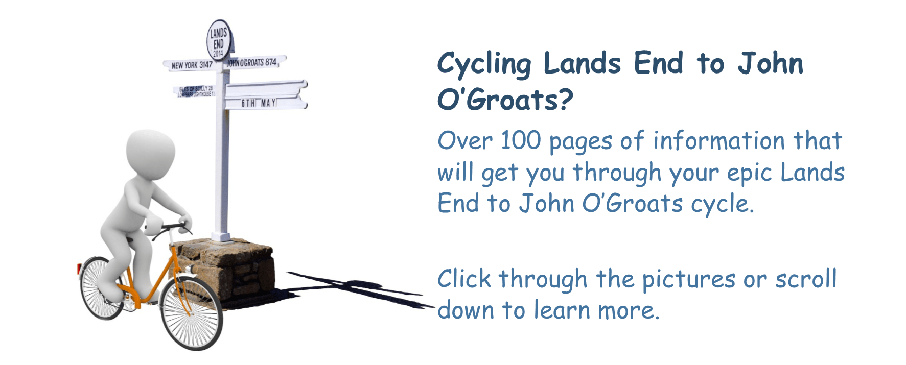 Lands End to John O'Groats Cycle Route Guide Slider Image 1 - Cycling Man at Lands End Signpost