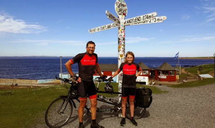 My son and me at the John O'Groats Signpost having just completed our tandem end to end cycle
