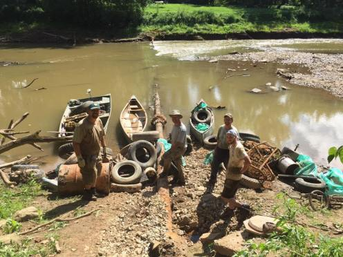 About 1/3 of the day's trash pulled from the river. (photo credit: Nick Millett)