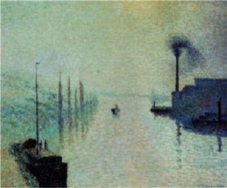 pissarro-camille-lacroix-island-rouen-fog-1888