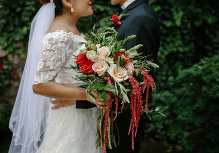 Red and Peach Boho cascading bouquet with Red Hanging Amaranthus by Lang Floral Designs | Chattanooga Wedding Flowers