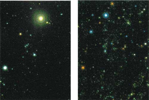 Gambar 4. Citra rasi Orion diamati pada sinar tampak (kiri) dan sinar-x (kanan).