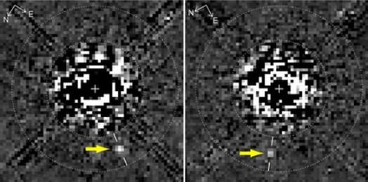 Planet ketiga di HR 8799 yang tersembunyi dalam citra Hubble. Krdit : NASA/ HST