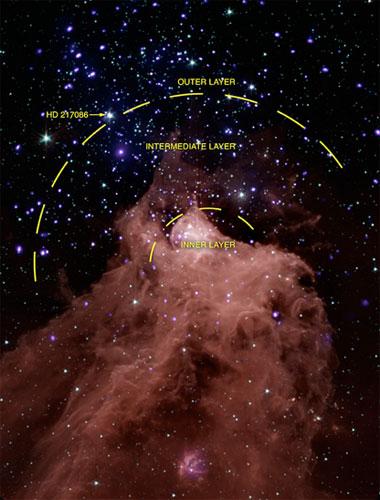 Citra Cepheus B yang diambil Chandra Observatory dan Teleskop Spitzer, disertai area di Cepheus B yang menunjukkan perbedaan kandungan bintang di dalamnya. Kredit : NASA/Chandra/Spitzer