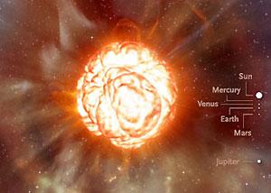 Ilustrasi permukaan Betelgeuse yang mendidih.  Kredit : ESO / L. Calçada