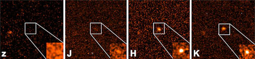 Citra GRB 090429B yang dihasilkan Gemini Near-Infrared Imager (NIRI) menggunakan filter J,H, dan K (label) dan filter Z (kiri)