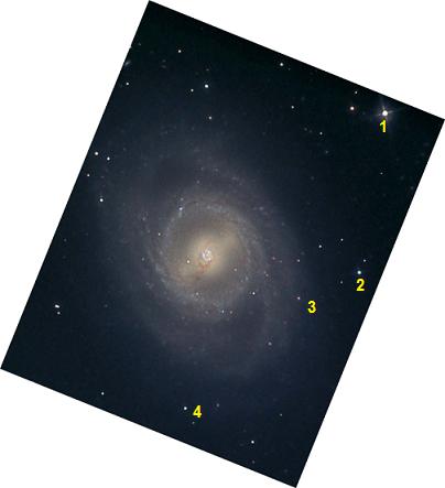 Galaksi M95 diabadikan pada 2009, jauh sebelum supernova SN 2012aw terjadi. Obyek 1, 2, 3 dan 4 adalah bintang penanda.