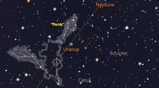 """Hujan Meteor """"Piscids"""" dari Rasi Pisces. Kredit: StarWalk"""