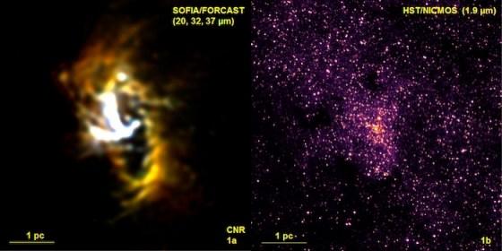 """Gambar 1a : Gambar inti galaksi Bima Sakti dalam panjang gelombang infrared menengah SOFIA/FORCAST menunjukkan cincin sirkum nuklir (CNR) gas dan awan debu yang mengelilingi lubang hotam supermasif. Fitur berbentuk Y yang terang dipercaya merupakan material yang jatuh dari cincin menuju lubang hitam yang terletak dimana kedua lengan fitur """"Y"""" bertemu. Kredit: NASA/DLR/USRA/DSI/FORCAST Team/Lau dkk. 1 pc (parsek) = 3,3 tahun cahaya = 25 detik busur pada jarak pusat galaksi 8.300 parsek. Gambar 1b :  Gambar inframerah dekat HST/NICMOS menunjukkan daerah yang sama dengan skala dan orientasi seperti Gambar 1a. Pada panjang gelombang ini, debu yang ada di bidang galaksi Bima Sakti menyembunyikan fitur yang terlihat pada gambar SOFIA. Sebaliknya, bintang-bintang pada gambar dari teleskop ruang angkasa Hubble umumnya mengeluarkan cahaya tampak dan inframerah dekat sehingga tidak terlihat pada gambar inframerah menengah SOFIA. Opasitas tambahan karena konsentrasi debu yang padat di CNR menghasilkan daerah-daerah kecil yang memiliki kerapatan bintang lebih rendah pada gambar inframerah dekat. Kredit: NASA/ESA/STScI/AURA."""