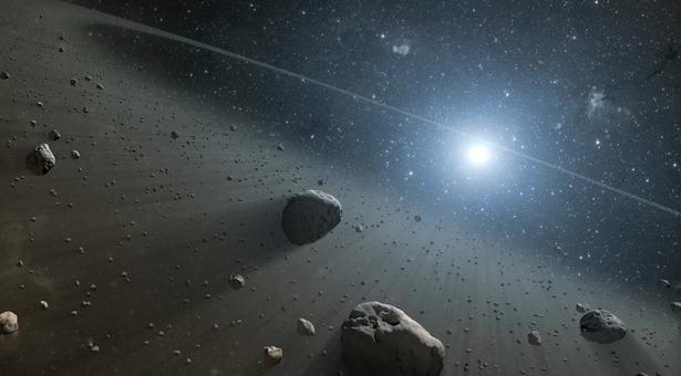 Ilustrasi sabuk asteroid di sekeliling Vega. Kredit : NASA/JPL-Caltech