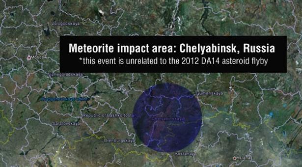 Chelyabinsk, lokasi meteor yang masuk ke Bumi tanggal 15 Februari 2013. Kredit: NASA