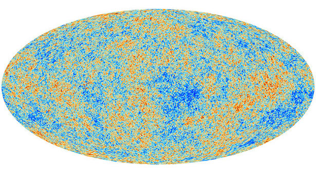 Peta alam semesta yang dibuat Planck dari radiasi latar gelombang mikro kosmos. Kredit: ESA and the Planck Collaboration
