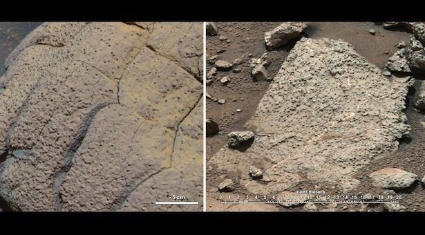 Citra perbandingan foto yang diambil Opportunity dan Curiosity pada 2 area berbeda di Mars. Kiri: batuan Wopmay di kawah Endurance, Meridiani Planum yang dipelajari rover Opportunity. Kanan: batuan Sheepbed di Yellowknife Bay, Kawah Gale yang dilihat Curiosity. Kredit: NASA/JPL-Caltech/Cornell/MSSS