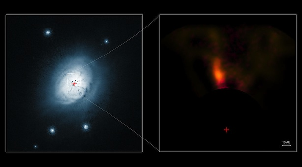 Kanan: Citra HD 100546 yang diambil NASA/ESA Hubble Telescope. Kiri: Citra gas dan debu di sekeliling bintang HD 100546 yang diambil NACo yang dipasang di VLT. Kredit : ESO/NASA/ESA/Ardila et al.