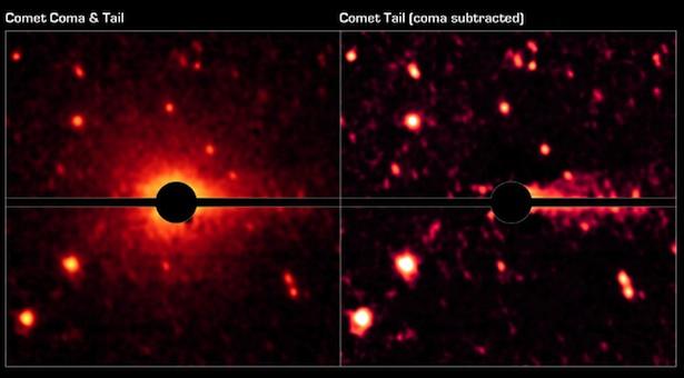 Asteroid Don Quixote yang ternyata sebuah komet dengan koma dan ekor. Kredit: NASA/JPL-Caltech/DLR/NAU