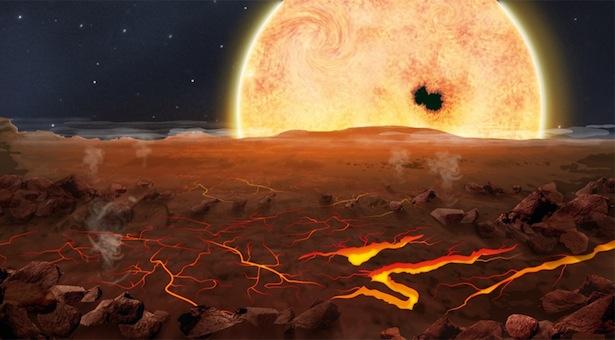 Ilustrasi permukaan planet lava, Kepler 78-b. Kredit: Jasiek Krzysztofiak/NATURE