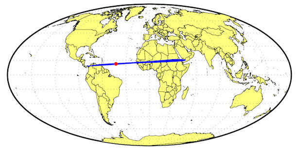Prediksi lokasi jatuhnya asteroid. 2014 AA. Kredit: NASA/JPL-Caltech