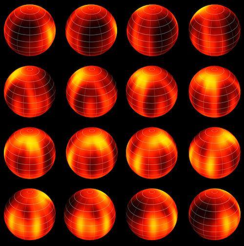 Peta permukaan Luhman 16B. Pola gelap dan terang  yang tampak. Kredit: ESO/I. Crossfield