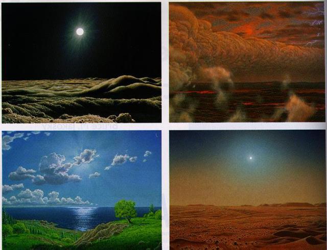Matahari di langit planet terrestrial. Atas: Langit di merkurius tampak gelap dan langit Venus yang berwarna oranye kemerahan. Bawah: Langit biru di Bumi dan langit kemerahan di Mars.