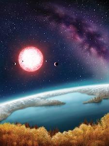 Ilustrasi kehidupan di Kepler-186f. Kredit: Danielle Futselaar