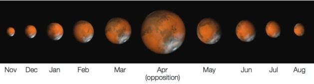 Mars selama tahun 2014. Kredit: NASA