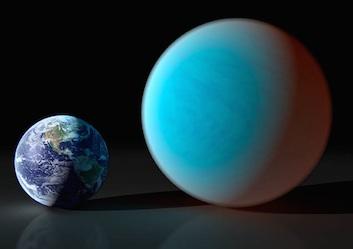 Perbandingan Bumi dan Bumi Super. Kredit: Spitzer/Caltech