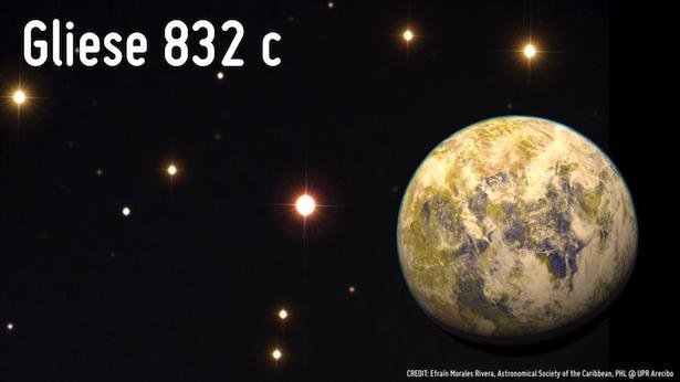 Ilustrasi planet Gliese 832 c. Kredit:  Efraín Morales Rivera, Astronomical Society of the Caribbean, PHL @ UPR Arecibo