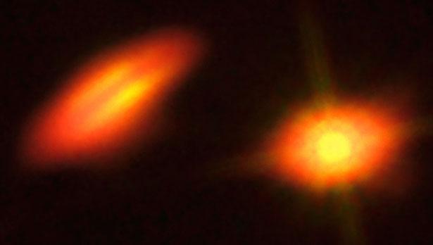 Citra HK Tauri yang diambil oleh Teleskop Hubble NASA/ESA dan citra dari ALMA. Kredit: B. Saxton (NRAO/AUI/NSF); K. Stapelfeldt et al. (NASA/ESA Hubble)