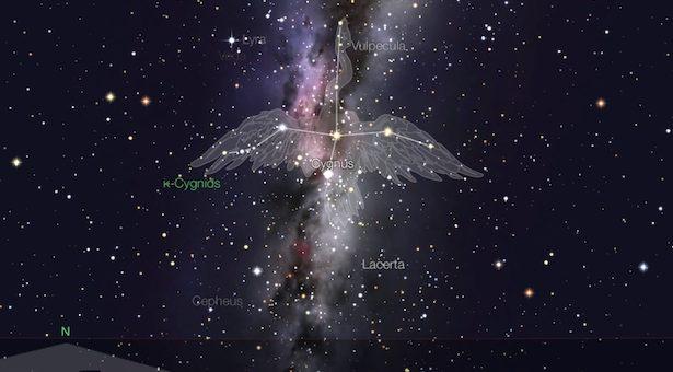 Hujan meteor Kappa Cygnid dari bintang Kappa Cygni di Rasi Cygnus si Angsa. Kredit: StarWalk