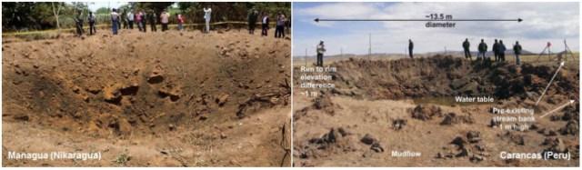 """Gambar 2. Perbandingan antara """"kawah meteor"""" Nikaragua dengan kawah Meteor Carancas (Peru). Cincin kawah setebal 1 meter dan bongkah-bongkah tanah yang kasar nampak menghiasi kawah Carancas, hal yang tak dijumpai di """"kawah"""" Nikaragua. SUmber: Space.com, 2014 & Brown dkk, 2008."""