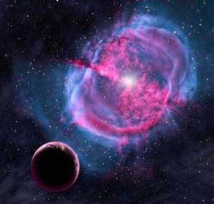 Ilustrasi planet serupa Bumi yang mengitari bintang yang berevolusi sebagi nebula planetari. Kredit: David A. Aguilar (CfA)