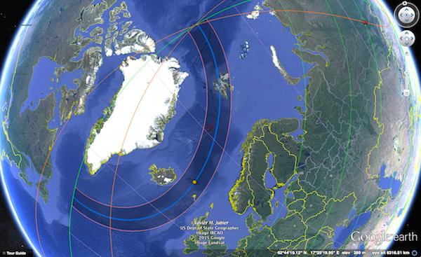 Jalur gerhana matahari total 20 Maret 2015. Kredit: Xavier Jubier / Google Earth Pro