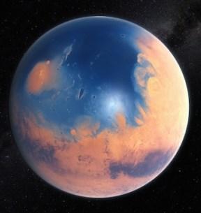 Ilustrasi Mars miliaran tahun lalu ketika masih memiliki lautan. kredit: ESO/M. Kornmesser