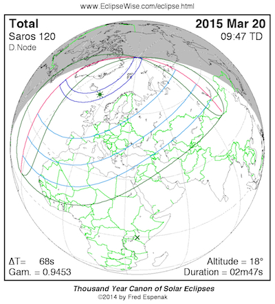 Peta jalur Gerhana Matahari 20 Maret 2015