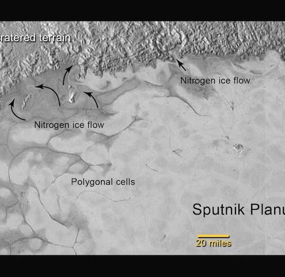 Area Utara Sputnik Planum. Tampak aliran melingkar dari es nitrogen ke arah daerah padat kawah. kredit: NASA/JHUAPL/SwRI