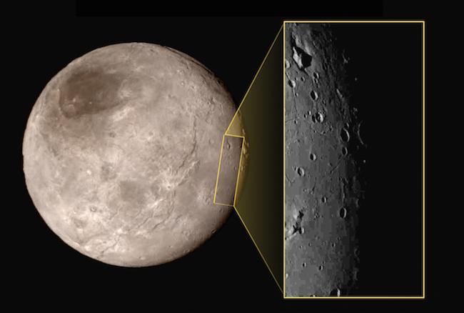 Charon yang dipotret dari jarak 79000 km. Tampak pada inset area seluas 390km dengan gunung di dalam sebuah parit. Kredit: NASA-JHUAPL-SwRI