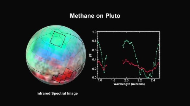 Potret kelimpahan metana yang berbeda-beda di PLuto. kredit: NASA-JHUAPL-SwRI