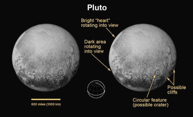 Foto terbaru Pluto pada tanggal 11 Juli 2015 yang memperlihatkan fitur berupa tebing dan kawah tumbukan. Kredit: NASA/JHUAPL/SWRI