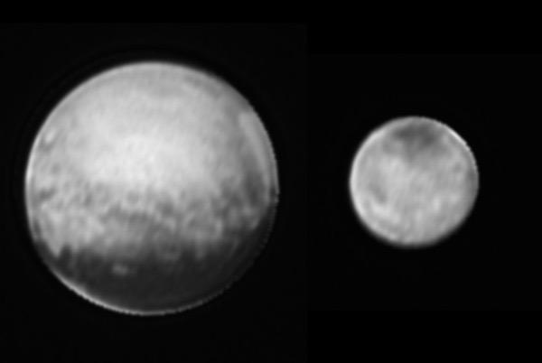 Kiri: Pluto ; Kanan: Charon. Kredit: NASA-JHUAPL-SWRI