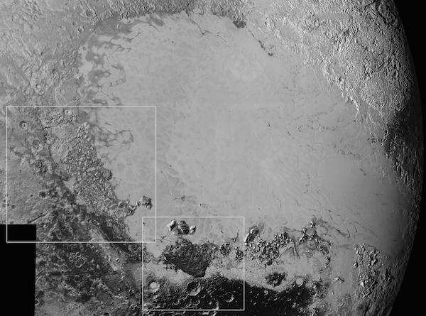 Mosaik permukaan Pluto selebar 1600 km dengan Dataran Es Sputnik yang terang dan berbagai fitur berbeda di sekelilingnya. Kredit: NASA/Johns Hopkins University Applied Physics Laboratory/Southwest Research Institute