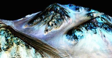 Alur gelap di Kawah Hale. Kredit: NASA/JPL-Caltech/Universitas Arizona