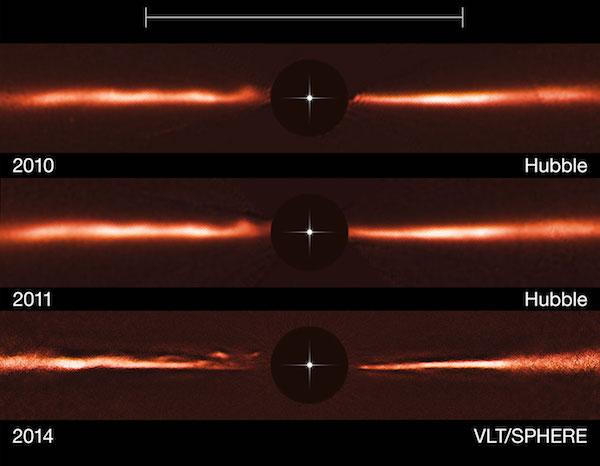 Riak misterius di Bintang AU Microscopii atau AU Mic yang dilihat VLT dan Teleskop Hubble dari tahun 2010-2014. Kredit: ESO/NASA/ESA