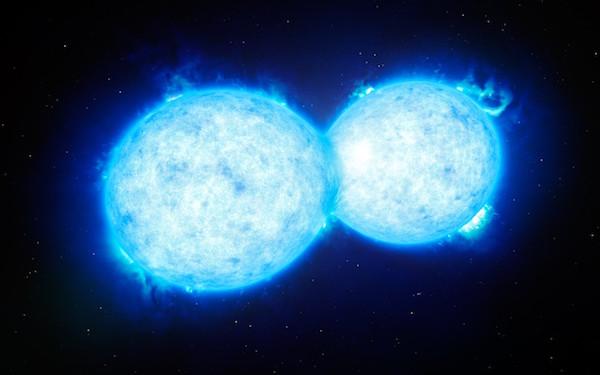 Bintang ganda masif yang akan mengakhiri hidupnya dalam ledakan dasyat. Kredit: ESO/L. Calçada