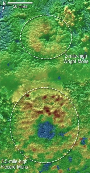 Peta 3D Gunung api es es Wright dan Gunung api es Piccard di Pluto. Kredit: NASA/Johns Hopkins University Applied Physics Laboratory/Southwest Research Institute