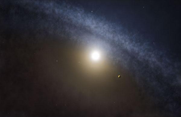 Ilustrasi kehadiran piringan gas dan debu di sekitar bintang. Kredit: ALMA