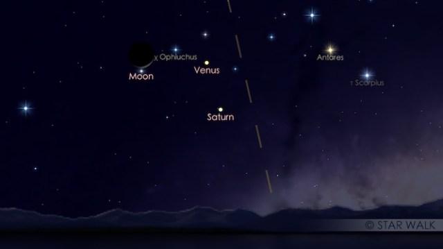 Bulan - Venus - Saturnus. Kredit: Star Walk