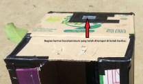 Pemasangan kertas putih dan karton beraluminium. Karton beraluminium ditunjukkan dengan tanda pandah merah. Kredit: Aldino Adry Baskoro
